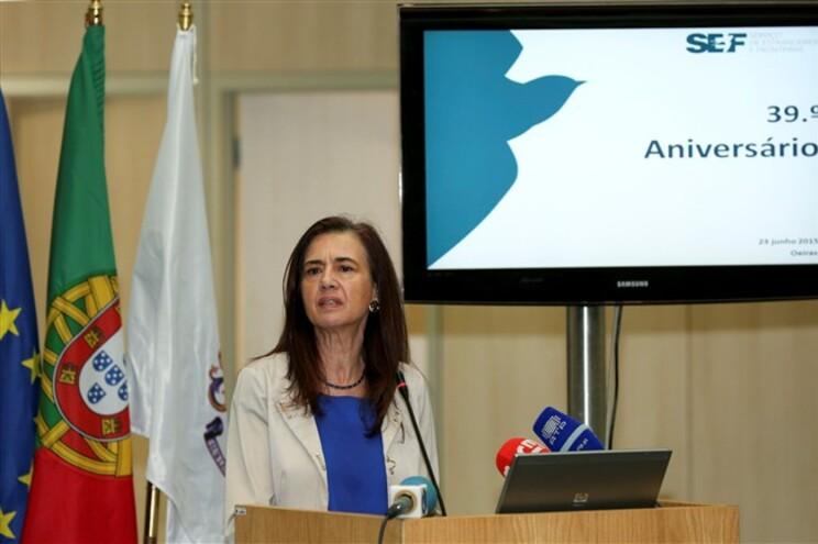 A ministra da Administração Interna, Anabela Rodrigues, durante a cerimónia comemorativa do 39º aniversário