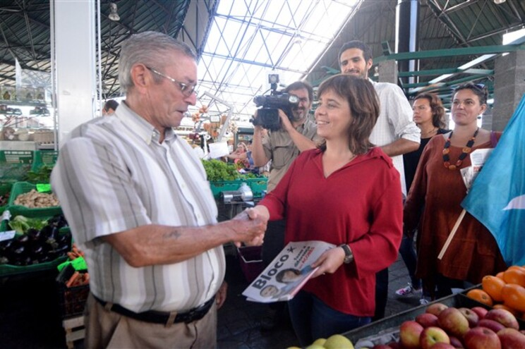 Catarina Martins no Mercado da Graça em Ponta Delgada