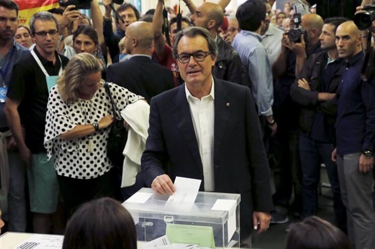 Presidente da Generalitat, Artur Mas, a votar em Barcelona