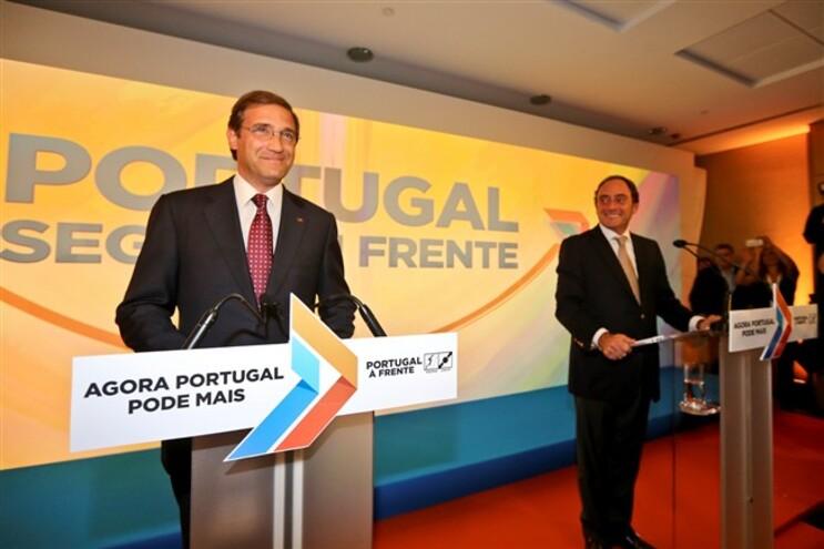 Passos Coelho e Paulo Portas, líderes do PSD e CDS-PP, respetivamente