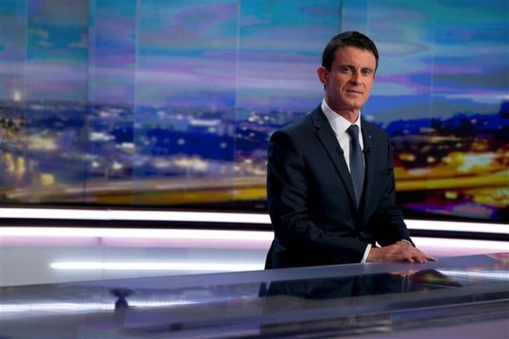 O primeiro-ministro francês na estação de televisão TF1