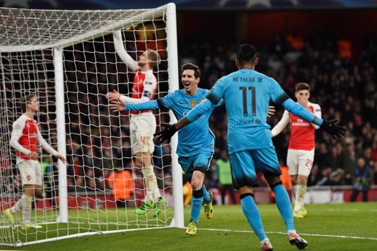 Messi marcou dois em contra o Arsenal