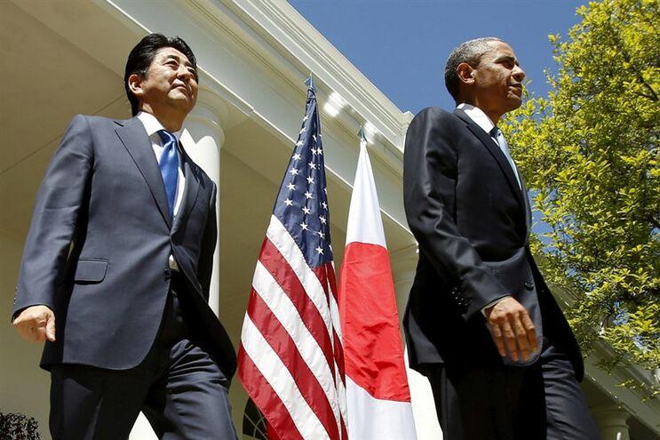 O primeiro-ministro do Japão, Shinzo Abe, na Casa Branca no passado dia 28 de abril