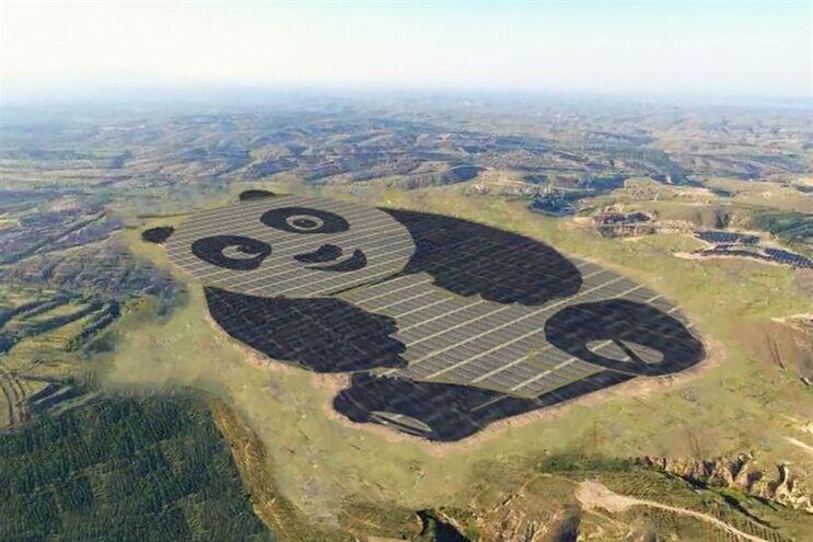 Empresa chinesa constrói central fotovoltaica em forma de panda