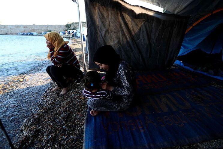 Campo de refugiados em Souda, na ilha grega de Chios