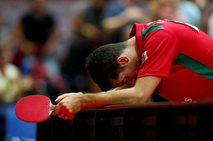 Frustração de Marcos Freitas, face à derrota portuguesa na final do Europeu de ténis de mesa