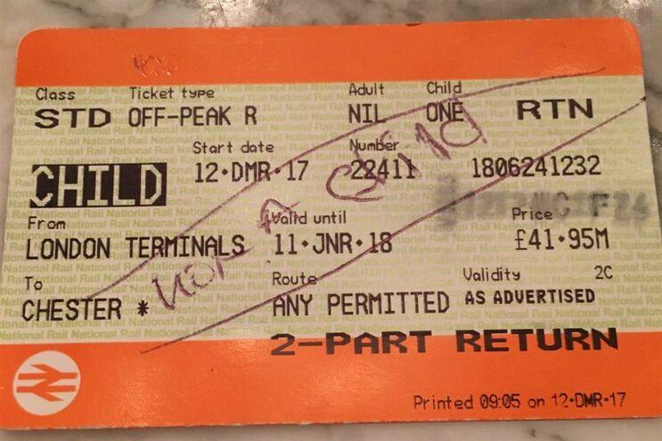 Bilhete válido rasurado pelos serviços ferroviários
