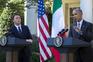 Obama durante uma conferência de imprensa conjunta com o primeiro-ministro italiano, Matteo Renzi
