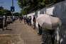 Porto 23 / 06 / 2021 - Fila longa no Centro de Vacinação no Regimento de Transmissões do Porto.  (