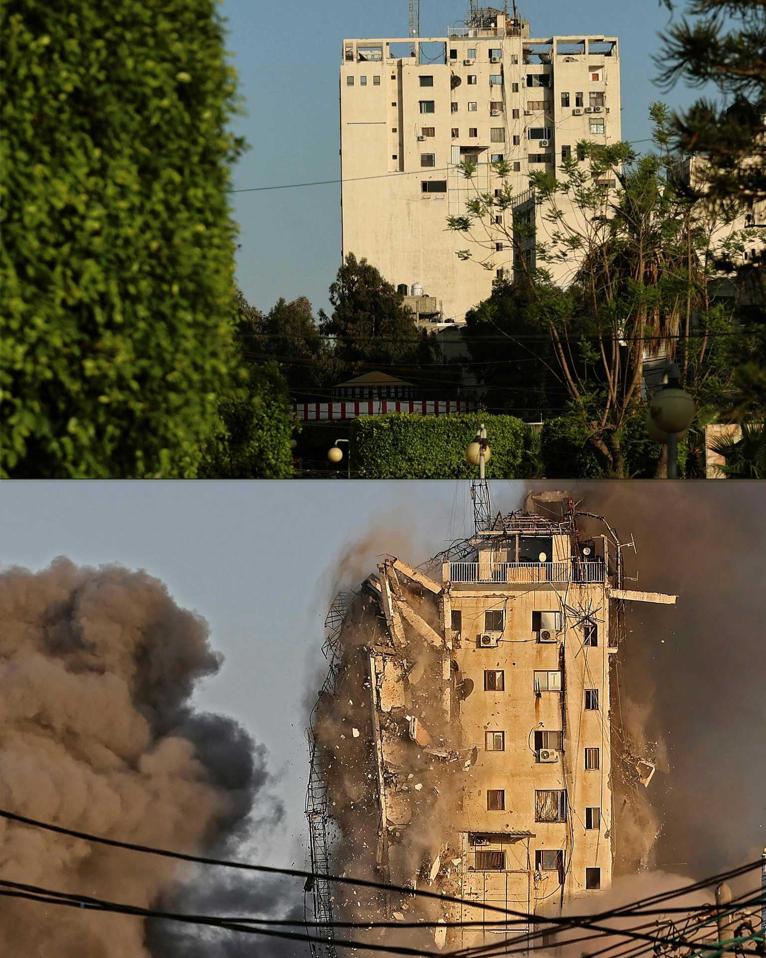 Torre Al-Sharouk, em Gaza, antes e depois de ter colapsado na sequência de um ataque aéreo israelita