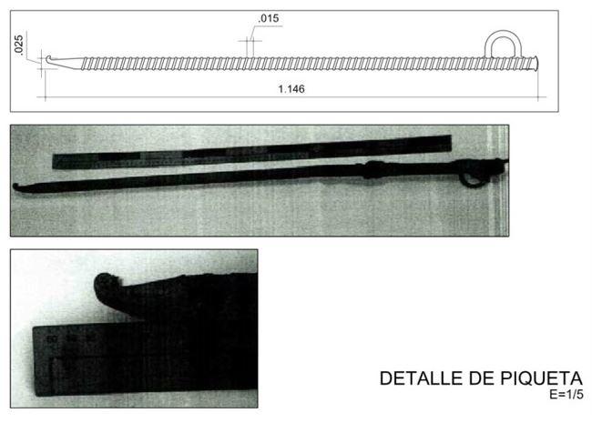 Na imagem, a picareta de aço que foi usada nas primeiras horas do resgate de Julen