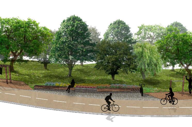 Imagem virtual da futura ciclovia