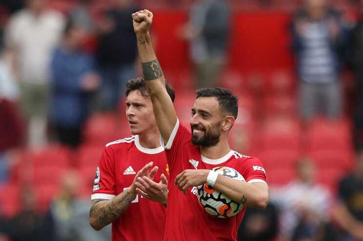 Bruno Fernandes marcou três dos cinco golos do Man United frente ao Leeds