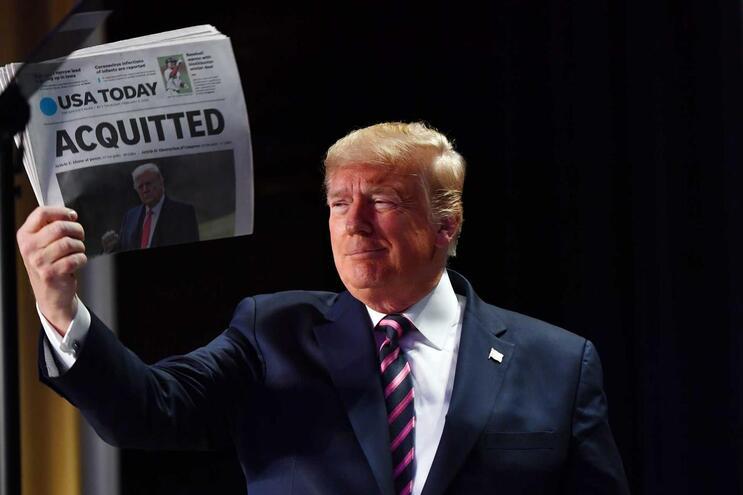 """Trump denunciou esta a """"maldade"""" dos adversários Democratas no julgamento político no qual foi absolvido"""