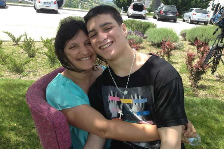 Leandro com a mãe