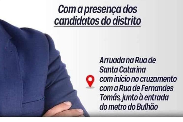 """Chega troca Bolhão por """"Bulhão"""" num cartaz virtual de anúncio de ação de campanha"""