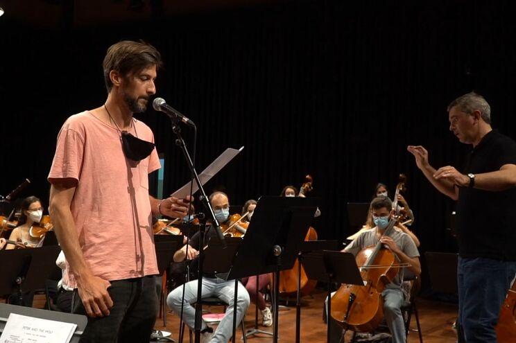 "Bruno Nogueira no ensaio geral de ""Pedro e o Lobo"""