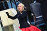US Singer Lady Gaga sings the US National Anthem at the beginning of the swearing in ceremony of the