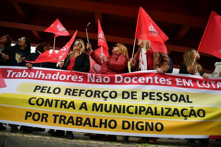 Protesto dos trabalhadores não docentes