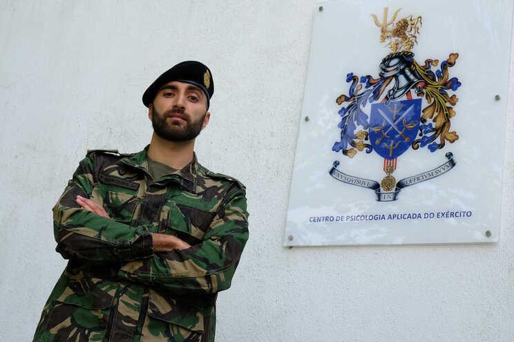 Aspirante Frederico Monteiro no Centro de Psicologia Aplicada do Exército, em Queluz