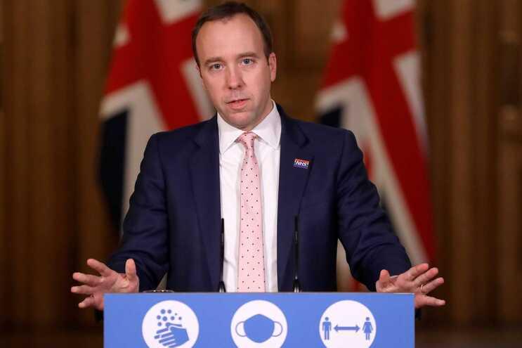 O secretário de Estado da Saúde britânico, Matt Hancock