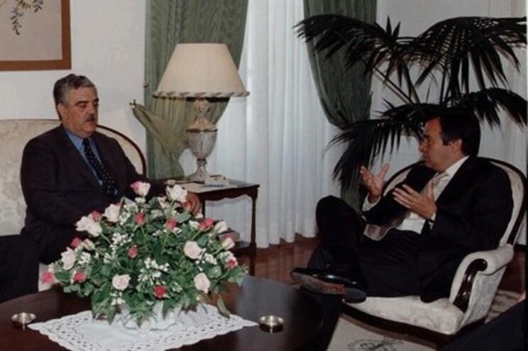 Virgílio Pereira com o então primeiro-ministro António Guterres, em 1996