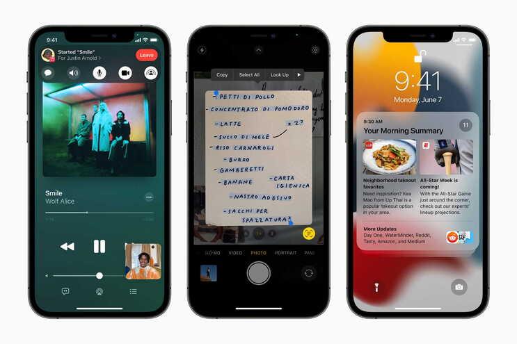 O novo sistema operacional para os telemóveis iPhone - iOS 15 - , apresenta melhorias ao nível do design