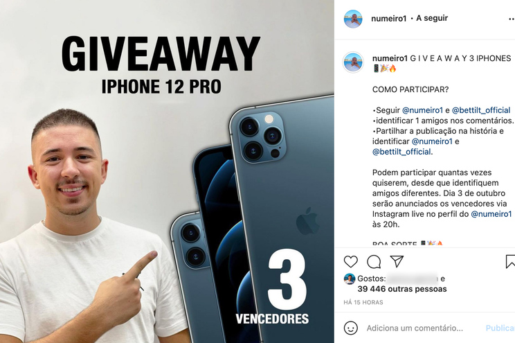 Numeiro voltou a promover casa ilegal de apostas no Instagram