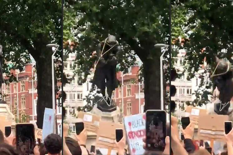 A estátua de Edward Colston (1636-1721), um benfeitor da cidade, já tinha sido objeto de controvérsia
