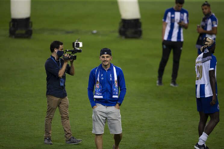 Casillas esteve com a equipa no relvado a celebrar o título de campeão nacional