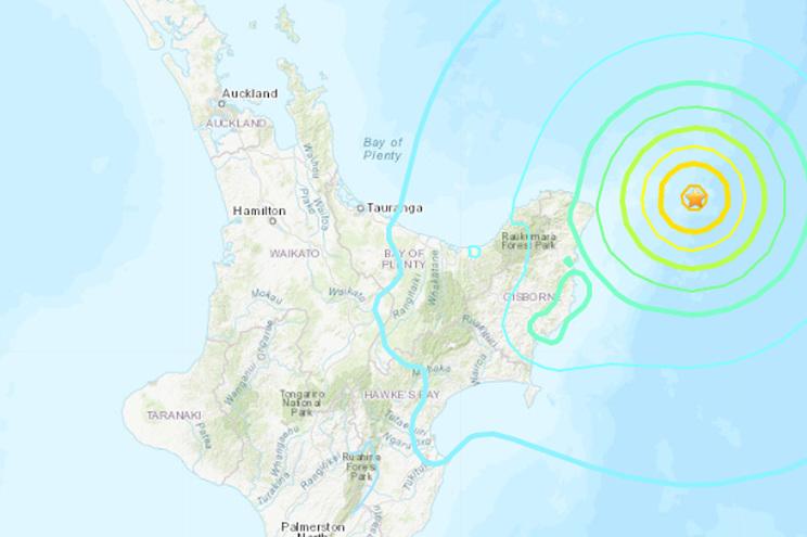Epicentro do sismo na Nova Zelândia