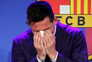 epaselect epa09405792 Argentine forward Lionel Messi gets emotional during a press conference to explain