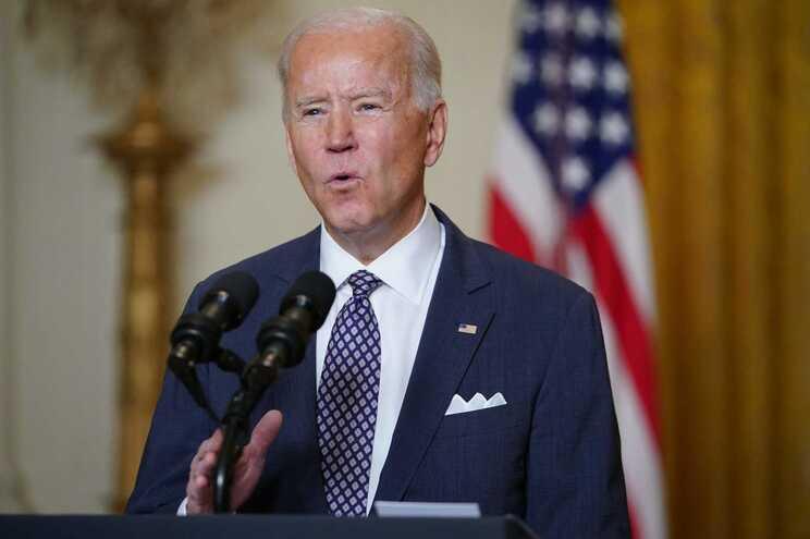 Joe Biden no discurso por videoconferência