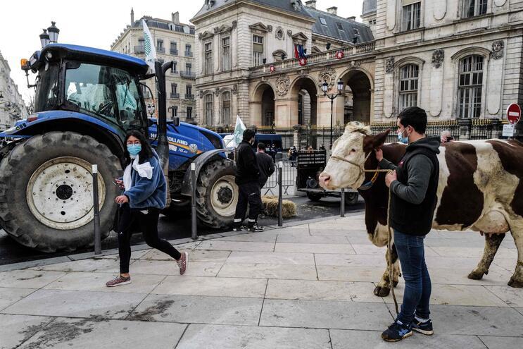 Protesto contra o novo menu das escolas de Lyon