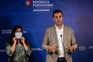 O porta-voz do PAN, André Silva, acompanhado líder do grupo parlamentar, Inês de Sousa Real