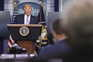Donald J. Trump durante a conferência de imprensa, na Casa Branca, quinta-feira