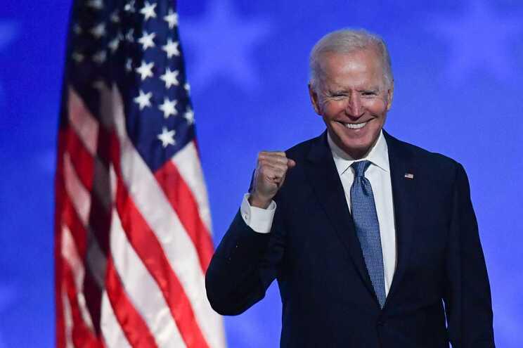 Joe Biden discursou para os apoiantes, junto à sua sede de campanha, em Wilmington, no estado de Delaware