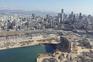 Semanas após a explosão, o rasto de destruição em Beirute visto do ar