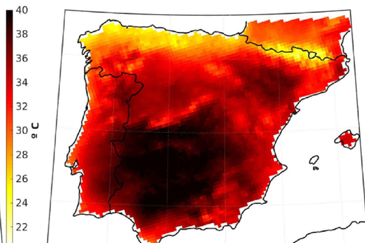 Mapa das temperaturas máximas em 2010