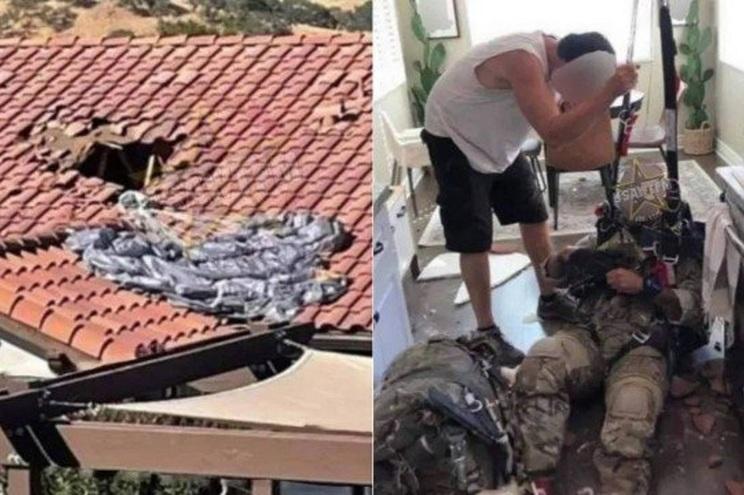 Paraquedista cai em cozinha depois de atravessar telhado de uma casa nos Estados Unidos da América