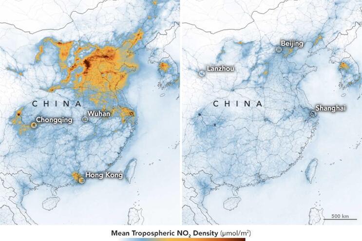 Níveis de poluição no início do ano (à esquerda) em comparação com fevereiro (à direita)