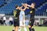 Os jogadores do Inter de Milão, Antonio Candreva e Roberto Gagliardini, festejam um dos golos ao SPAL