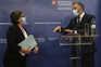 Comissária europeia dos Transportes, Adina Valean, e o ministro Pedro Nuno Santos