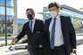 O advogado de Ricardo Salgado, Francisco Proença de Carvalho (E), à chegada ao Campus de Justiça em Lisboa