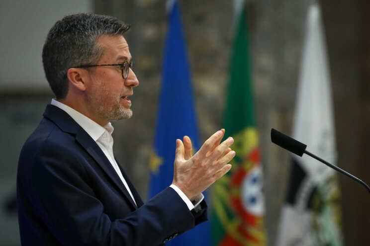 O ex-comissário europeu Carlos Moedas, durante a declaração da sua candidatura à presidência da Câmara