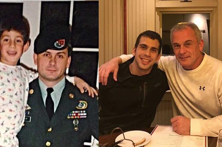 Michael Taylor, atualmente na atividade de segurança privada, e o filho Peter, em duas fotos separadas