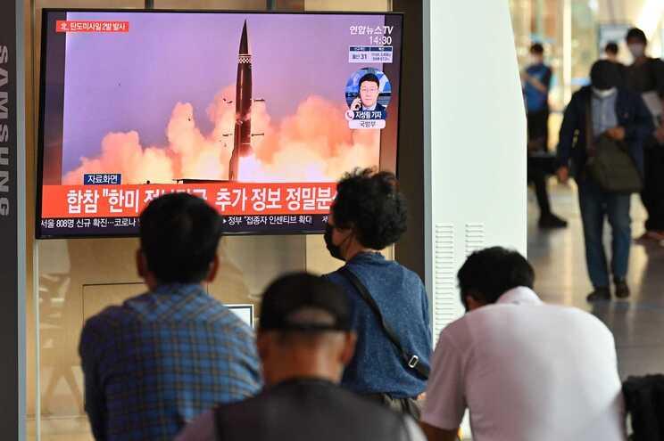 Imagens transmitidas na televisão da Coreia do Sul