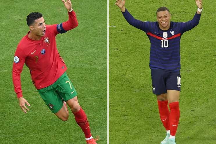 Cristiano e Mbappé defrontam-se esta quarta-feira no Portugal-França