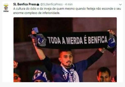 """Benfica reage a cachecol usado na festa do F. C. Porto: """"Enorme complexo de inferioridade"""""""