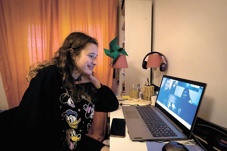 Francisca Monteiro no recreio durante as aulas online